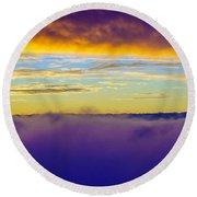 Northwest Sunrise Cloudscape Round Beach Towel