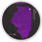 Northwestern University Wildcats Evanston Illinois College Town State Map Poster Series No 080 Round Beach Towel