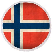 Norway Flag Distressed Vintage Finish Round Beach Towel by Design Turnpike