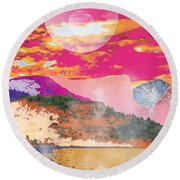 Space Landscape Round Beach Towel