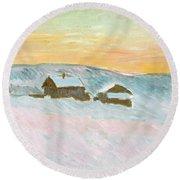 Norwegian Landscape, Blue Houses, 1895 Round Beach Towel