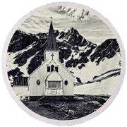 Norwegian Lutheran Church Grytviken Round Beach Towel