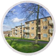 Norwich Apartments Round Beach Towel by Tom Gowanlock