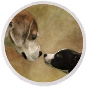 Nose To Nose Dogs Round Beach Towel by Linsey Williams
