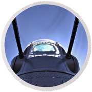 Nose Turret Of The B-24 J Round Beach Towel