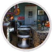 Nostalgia Barber Shop Round Beach Towel