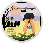 Not Interested Round Beach Towel