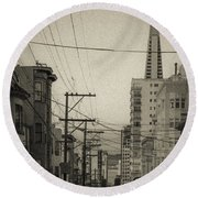 Not So Old San Francisco Round Beach Towel