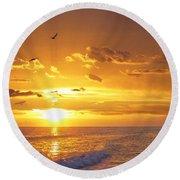 Not Yet - Sunset Art By Sharon Cummings Round Beach Towel