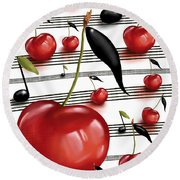 Notes Of Fruits Round Beach Towel
