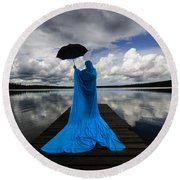 Nothing Is Ours But Time  Round Beach Towel