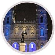 Notre-dame Basilica Of Montreal Round Beach Towel