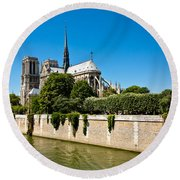 Notre Dame Cathedral And The Seine Round Beach Towel