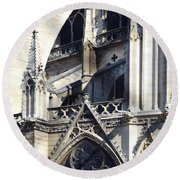 Notre Dame Cathedral Architectural Details Round Beach Towel
