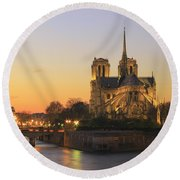 Notre Dame Cathedral At Sunset Paris France Round Beach Towel