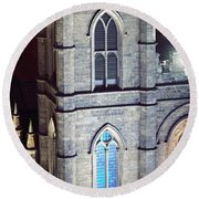 Notre Dame De Montreal At Night Round Beach Towel