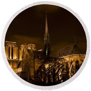 Notre-dame De Paris After Dark Round Beach Towel