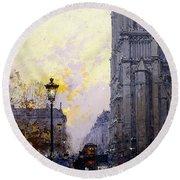 Notre Dame De Paris Round Beach Towel by Eugene Galien-Laloue