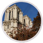 Notre-dame De Paris - French Gothic Elegance In The Heart Of Paris France Round Beach Towel