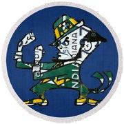 Notre Dame Fighting Irish Leprechaun Vintage Indiana License Plate Art  Round Beach Towel by Design Turnpike