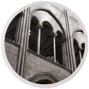 Notre Dame Gothic Arches Round Beach Towel