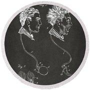 Novelty Wig Patent Artwork Gray Round Beach Towel