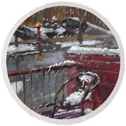 First Snowfall Nov 17 2014 Round Beach Towel