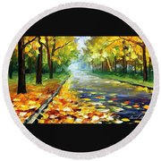 November Alley - Palette Knife Landscape Autumn Alley Oil Painting On Canvas By Leonid Afremov - Siz Round Beach Towel