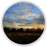 November Skies  Round Beach Towel
