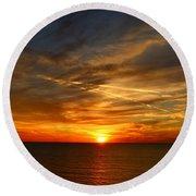 November Sunset Round Beach Towel