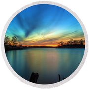 November Sunset Round Beach Towel