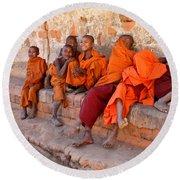 Novice Buddhist Monks Round Beach Towel