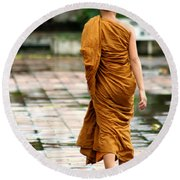 Novice Monk Of Chedi Luang Round Beach Towel