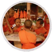 Novice Monks Round Beach Towel