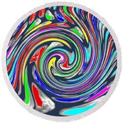 Novino Signature Art Walking Fine Lines Twirl Background Designs  And Color Tones N Color Shades Ava Round Beach Towel