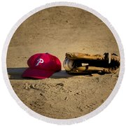 Now Pitching For The Phillies Round Beach Towel