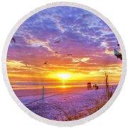 Nsb Lifeguard Station Sunrise Round Beach Towel