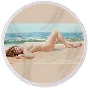 Nu Sur La Plage Round Beach Towel