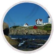 Nubble Light House York Beach Maine Round Beach Towel