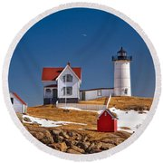 Nubble Lighthouse 3 Round Beach Towel