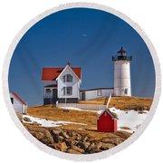 Nubble Lighthouse 3 Round Beach Towel by Joann Vitali