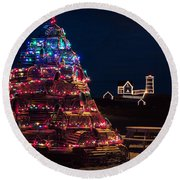 Nubble Lighthouse And Lobster Pot Tree Round Beach Towel