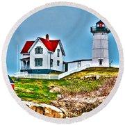Nubble Lighthouse Cape Neddick Maine 2 Round Beach Towel
