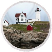 Nubble Lighthouse Cape Neddick Maine 4 Round Beach Towel