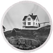 Nubble Lighthouse Cape Neddick Maine Black And White Round Beach Towel
