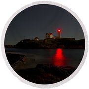 Nubble Lighthouse Lit By The Full Moon Round Beach Towel