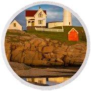 Nubble Lighthouse No 1 Round Beach Towel
