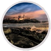 Nubble Lighthouse Winter Solstice Sunset Round Beach Towel