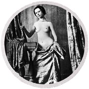 Nude And Curtains, C1850 Round Beach Towel