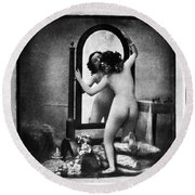 Nude And Mirror, C1850 Round Beach Towel